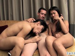 Thai shemale threesome with cumshot