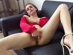 Neglected Housewife with Big Clit Home Alone Strips and...