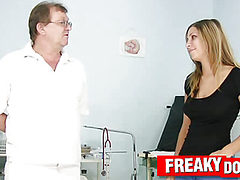 Rachel Evans as hot patient in dirty gynecology clinic