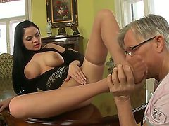 Anastasia Brill has the perfect little feet for cock te...